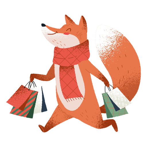 Shopping fox cute illustration