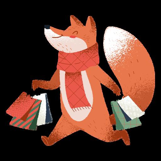 Shopping fox ilustração fofa