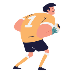 Side view goalkeeper character illustration