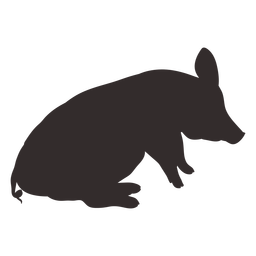 Sitting side view pig silhouette