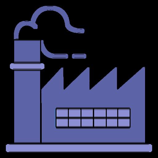 Smoking factory building silhouette