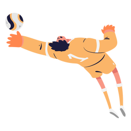 Soccer goalkeeper trying catch ball