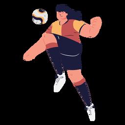 Personaje de jugador de fútbol controlando la pelota.