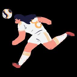 Personaje de jugador de fútbol corriendo hembra