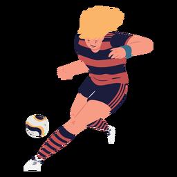Jugador de fútbol persiguiendo al personaje de pelota.