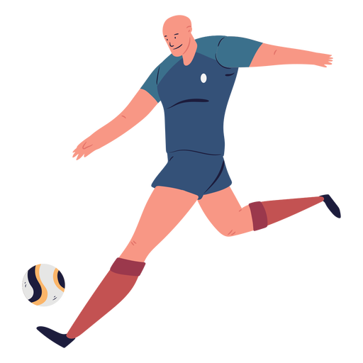 Soccer player kicking ball character