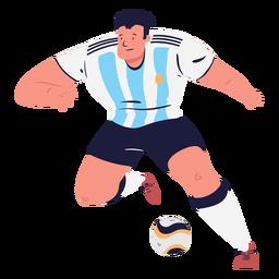 Pelota y personaje masculino de jugador de fútbol