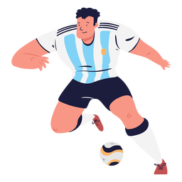 Soccer player male character and ball