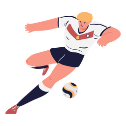 Soccer player male character shooting