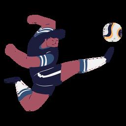 Jugador de fútbol masculino pateando la pelota