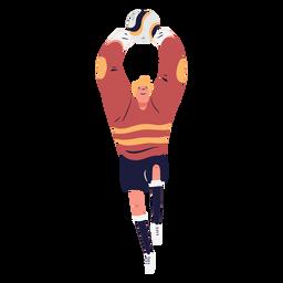 Portero de fútbol atrapando pelota