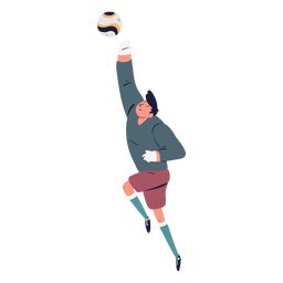 Personaje de portero de captura de pelota de pie