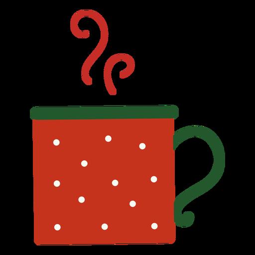 Taza de navidad humeante plana