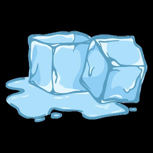 Dos cubitos de hielo derritiéndose planos
