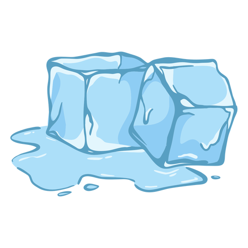 Two melting ice cubes flat Transparent PNG