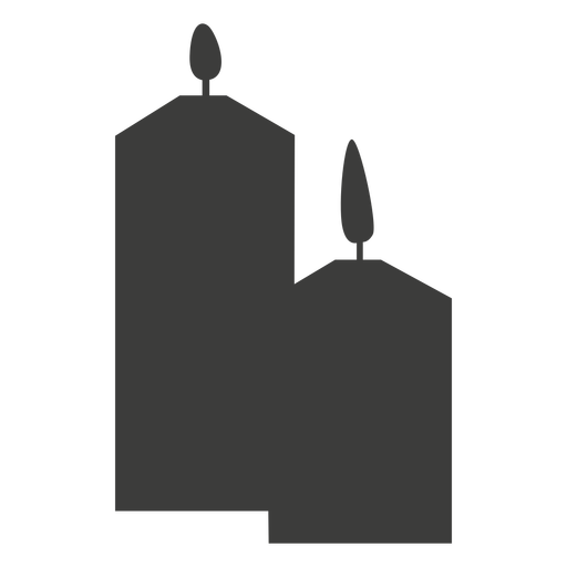 Two pillar candles silhouette