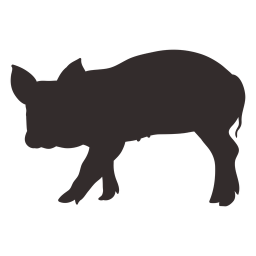Walking pig silhouette side view