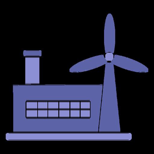 Wind power industry silhouette