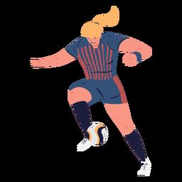 Jugador de fútbol de personaje de mujer controlando la bola