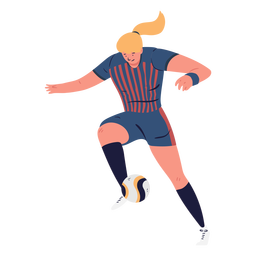 Woman character soccer player controlling ball