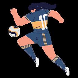Jugador de fútbol de mujer persiguiendo la pelota