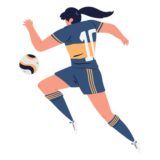 Woman soccer player chasing the ball