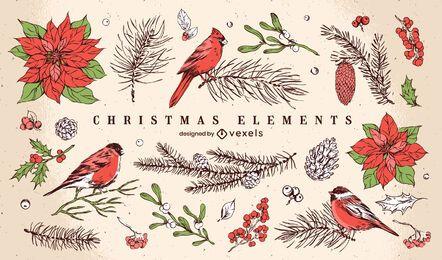 Paquete de diseño de elementos ilustrados de Navidad