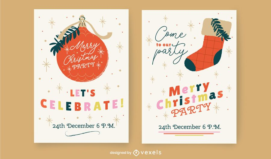Christmas party card template set