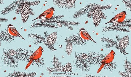 Christmas birds pattern design