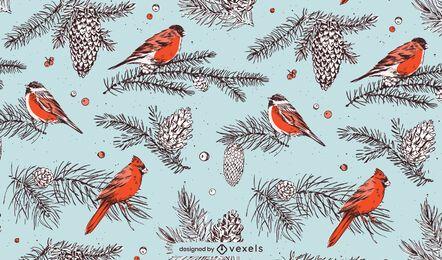 Diseño de patrón de pájaros navideños