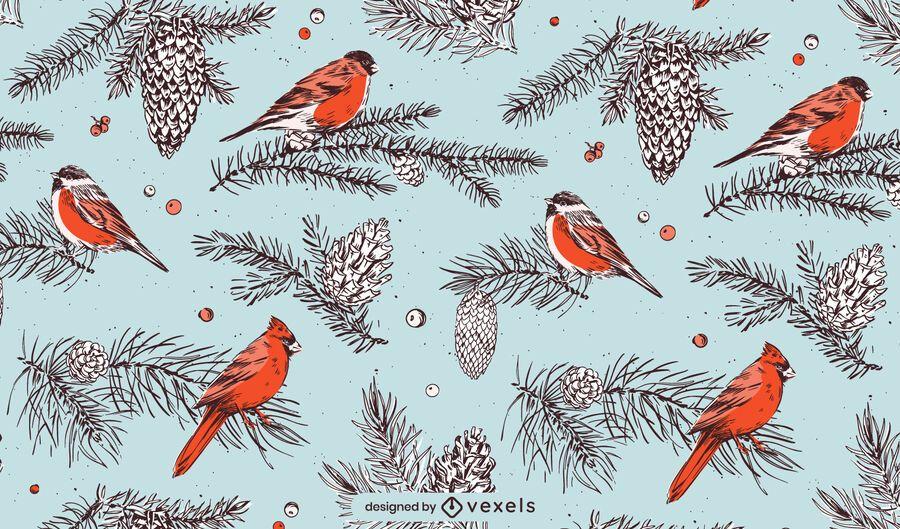 Desenho de padrão de pássaros de natal