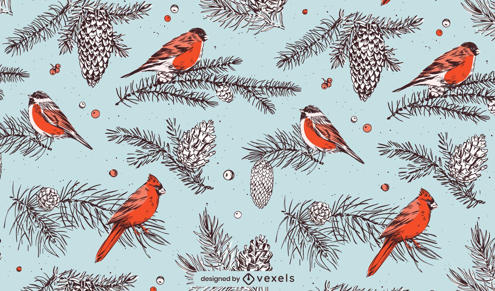 Christmas birds pattern design