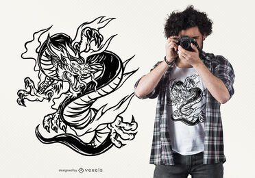 Hand drawn dragon t-shirt design