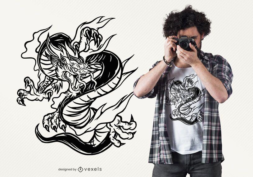 Design de t-shirt desenhada mão dragão