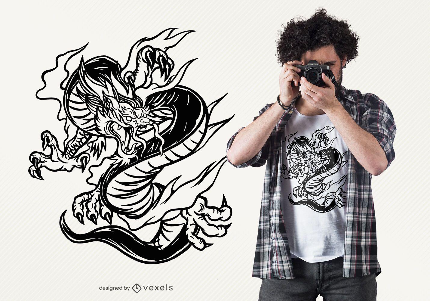 Hand drawn dragon t-shirt design