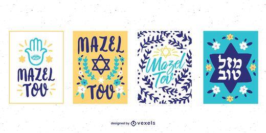 Pacote de cartas coloridas Mazel Tov