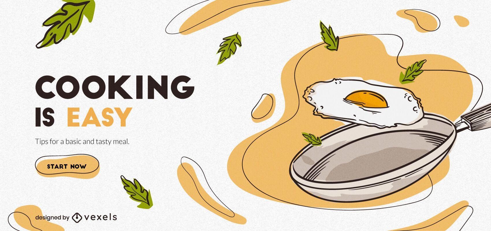 Design de banner fácil de cozinhar