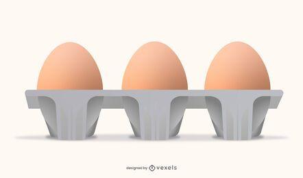 Diseño realista de cartón de huevos