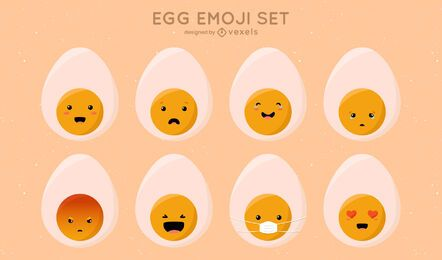 Conjunto de ovo fofo emoji