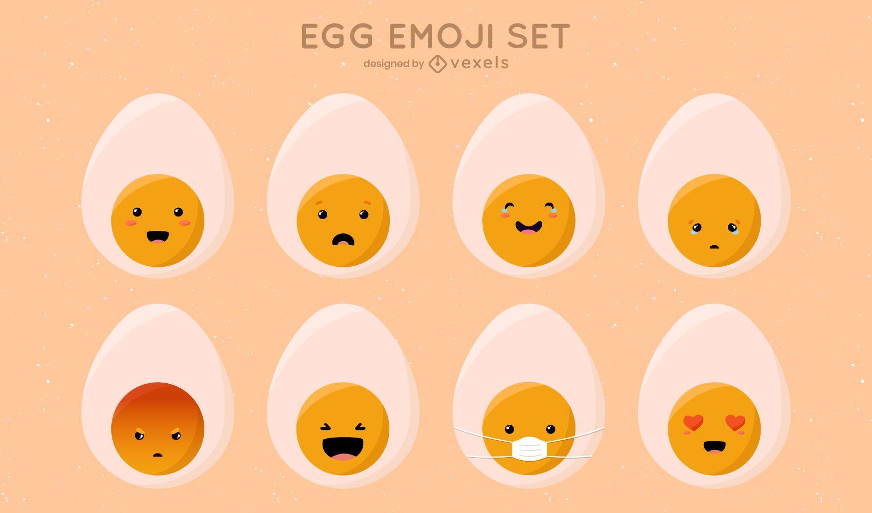 Lindo juego de emoji de huevo