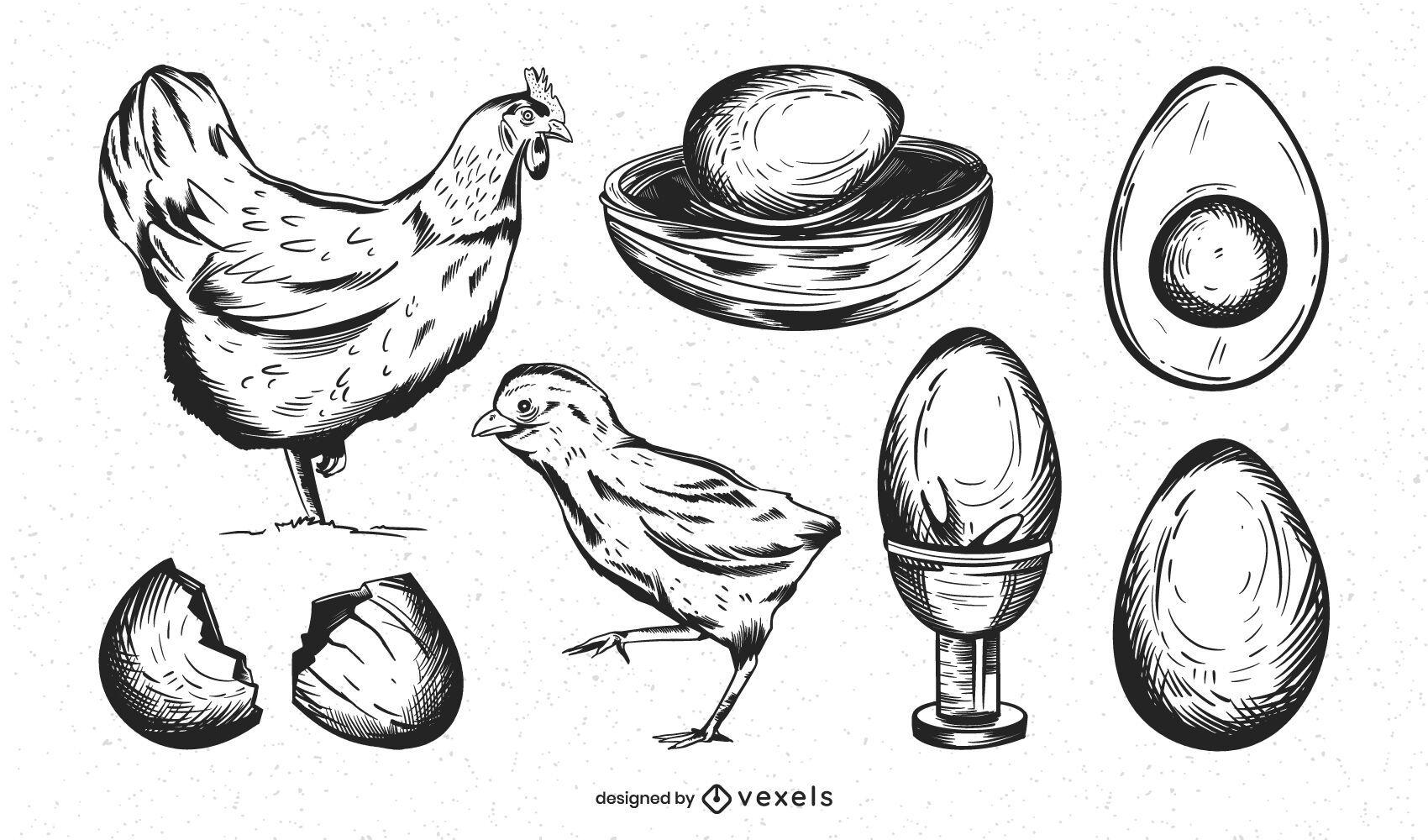 Paquete de diseño de granja de huevos dibujados a mano