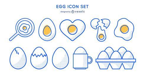 Conjunto de iconos de trazo de huevo
