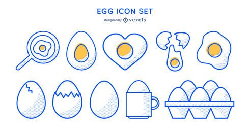 Egg stroke icon set