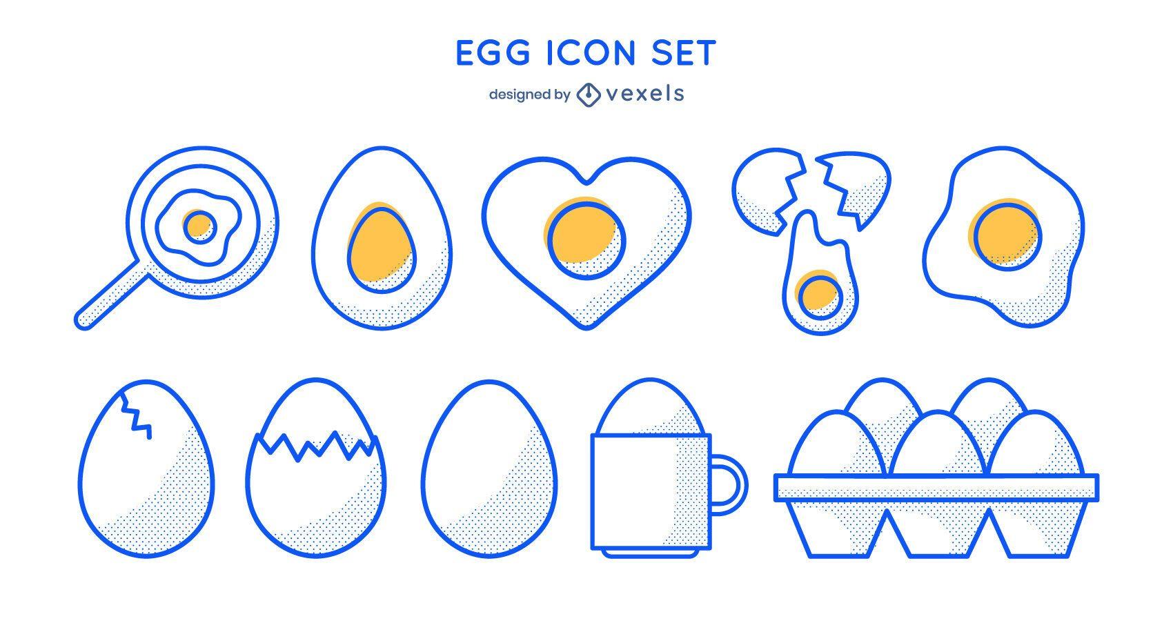 Egg stroke icon set