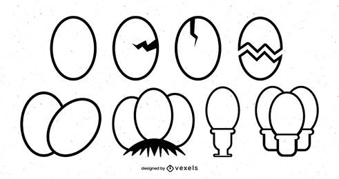 Boiled egg stroke icon set