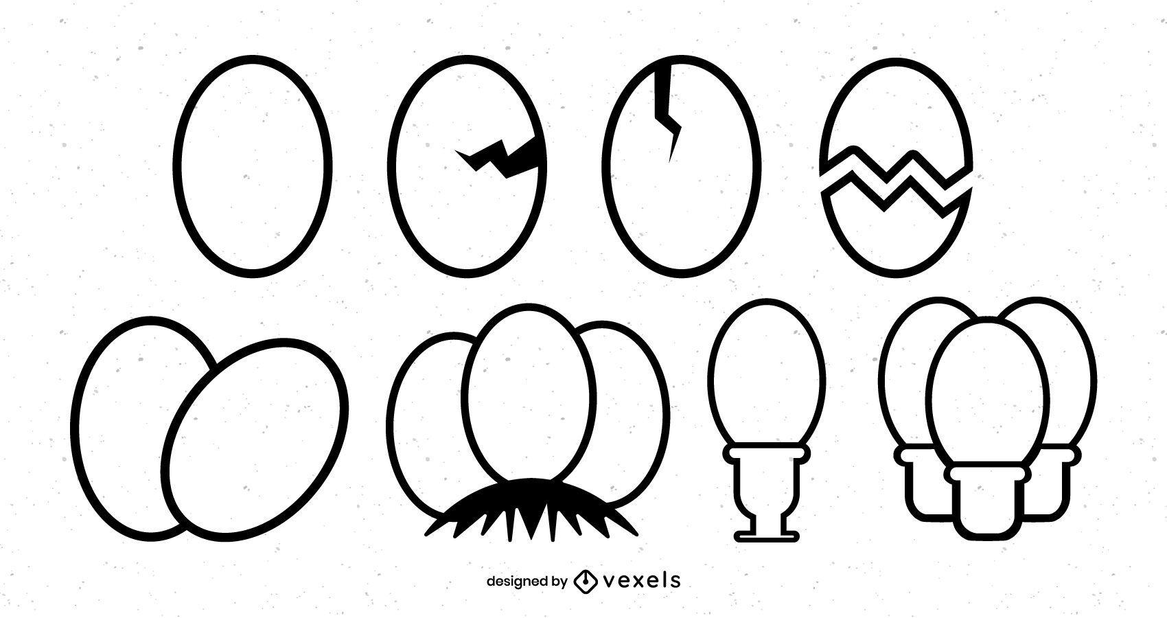 Boiled egg stroke icon set