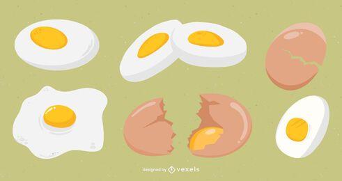 Paquete de diseño de huevo plano
