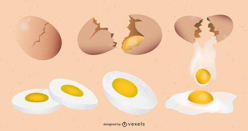 Conjunto de diseño de dibujo de huevo