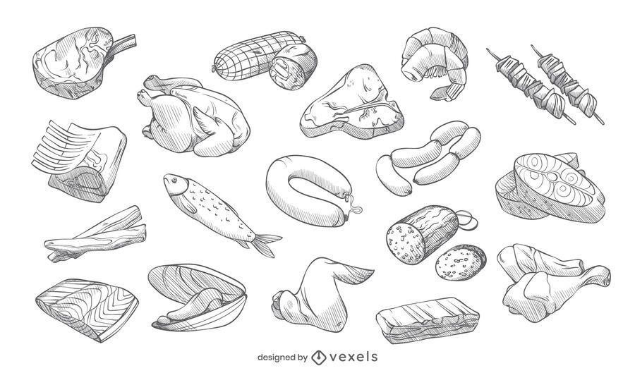 Pacote de design de carne de golpe desenhado à mão