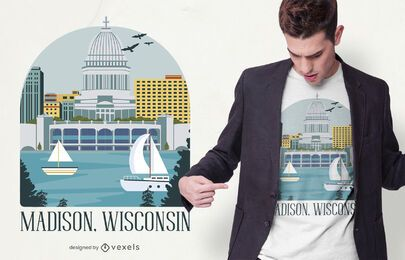 Diseño de camiseta Madison Wisconsin